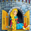 Rapunzel - Prince or princess - castles - knights and fairies - illustration for the children — Stock Photo