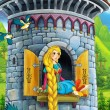 Foto de Stock  : Rapunzel - Prince or princess - castles - knights and fairies - illustration for children