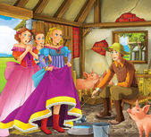 Swineherd - Prince or princess - castles - knights and fairies - illustration for the children — Stock Photo