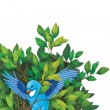 Funny cartoon bird on branch — Stock Photo
