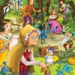 Stock Photo: The fairy tales mush up - castles - knights and fairies