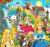The fairy tales mush up - castles - knights and fairies — Stock Photo