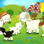 Cartoon illustration with sheep family on the farm — Stock Photo #29955219