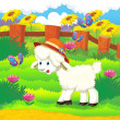 Cartoon illustration with sheep on the farm — Stock Photo