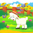 Cartoon illustration with sheep on the farm — Stock Photo #29955233