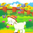 Cartoon illustration with sheep on the farm — Stock Photo #29955247