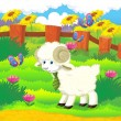 Cartoon illustration with sheep on the farm — Stock Photo #29955251