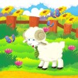 Cartoon illustration with sheep on the farm — Stock Photo #29955253