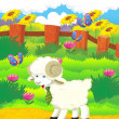 Cartoon illustration with sheep on the farm — Stock Photo #29955263