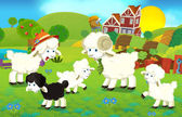 Cartoon illustration with sheep family on the farm — Stock Photo