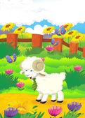 Cartoon illustration with sheep on the farm — Stock Photo