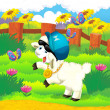 Cartoon illustration with sheep on the farm - disco style — Stockfoto