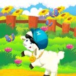 Cartoon illustration with sheep on the farm - disco style — Stock Photo #30117011
