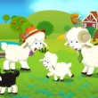 Cartoon illustration with sheep family on the farm  — Stock Photo