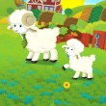 Cartoon illustration with sheep family on the farm — Stock Photo #30117155