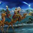 Stock Photo: Illustration of the holy family and three kings - illustration for the children