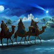 Illustration of the holy family and three kings - illustration for the children — 图库照片