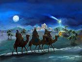 圣洁家庭和三位国王-插图儿童插图 — 图库照片