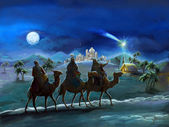 Illustration of the holy family and three kings - illustration for the children — Photo