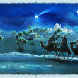 Stock Photo: Illustration of holy family and three kings - illustration for children
