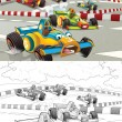Racing cars. Artistic coloring page out of cartoon style — Stock Photo #31366873