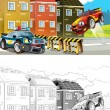 Car wreck. Artistic coloring page out of cartoon style — Foto de Stock