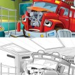 Fire truck. Artistic coloring page out of cartoon style — Photo
