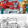 Fire truck. Artistic coloring page out of cartoon style — Zdjęcie stockowe