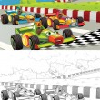 Racing cars. Artistic coloring page out of cartoon style — Stock Photo