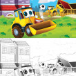 Tractor. Artistic coloring page out of cartoon style — Stockfoto