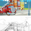 Fire truck. Artistic coloring page out of cartoon style — Stock fotografie
