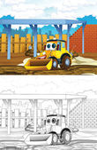 Tractor. Artistic coloring page out of cartoon style — Stock Photo