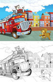 Fire truck. Artistic coloring page out of cartoon style — Stock Photo
