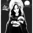 Stock Photo: Mary and Jesus Christ at night - illustration for children