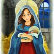 Mary and Jesus Christ at night - illustration for the children — Stock Photo #31418019