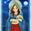 Mary and Jesus Christ at night - illustration for the children — Stock Photo