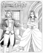 """The sketch coloring page with preview """"Beauty and the Beast"""". — Stock Photo"""