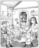 "The sketch coloring page with preview ""Snow White and the Seven Dwarfs"". — Stock Photo"