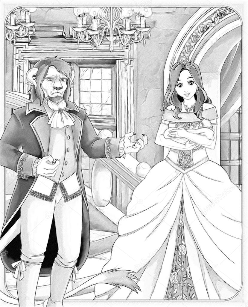 The sketch coloring page with preview Beauty and the Beast. — 图库 ...