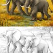 Safari - elephants - coloring page - illustration for the children — Stockfoto
