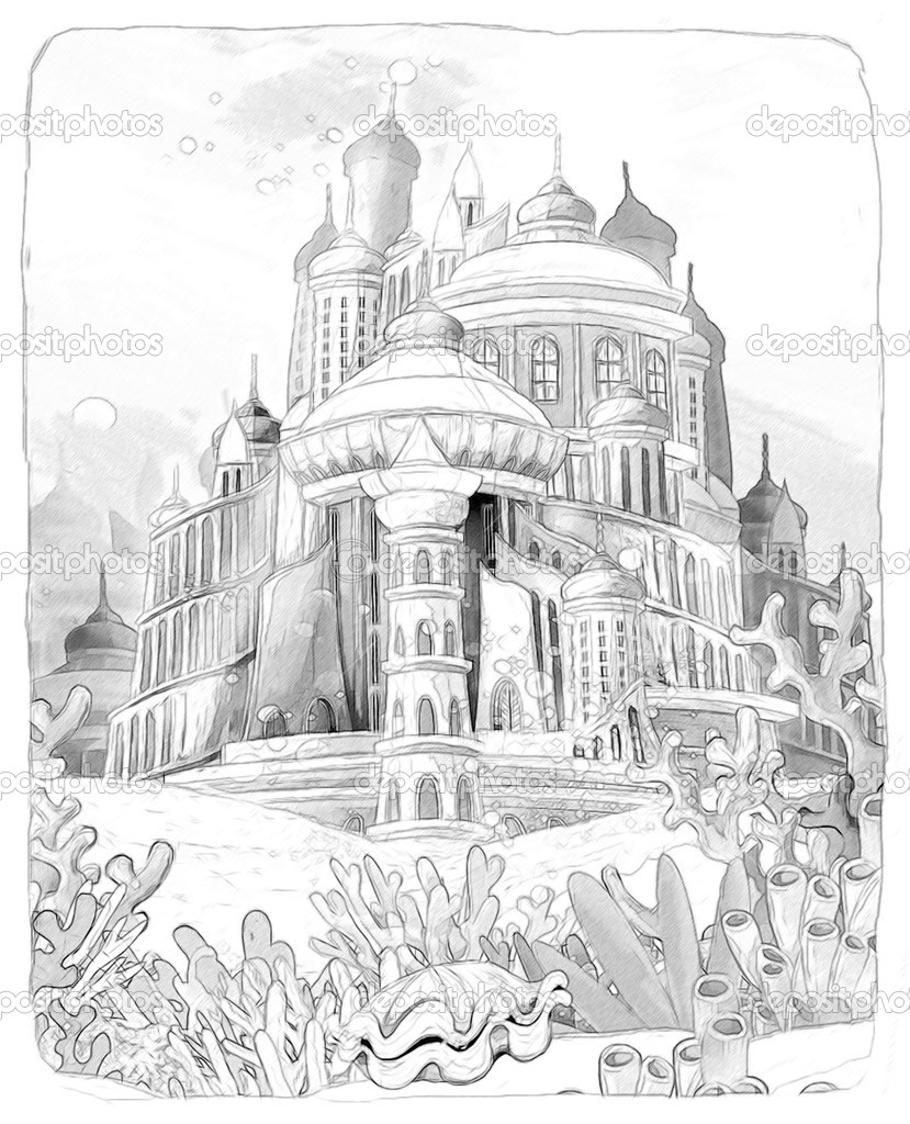 Underwater world and castle the little mermaid artistic style