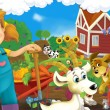 Stock Photo: Little girl on the farm - the happy illustration for the children