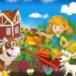 Little girl on the farm - the happy illustration for the children — Stock Photo