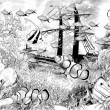 Coral reef with ship wreck - illustration for the children — Stock Photo