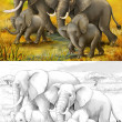 Safari - elephants - coloring page - illustration for the children — Stock Photo