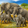 Safari - elephants - illustration for the children — Stock Photo