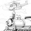 Machines - artistic coloring page — Stock Photo