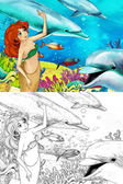 The ocean and the mermaids - coloring page — Stock Photo
