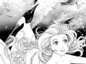 Havet och sjöjungfrur - målarbok — Stockfoto