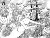 El océano y las sirenas - página para colorear — Foto de Stock